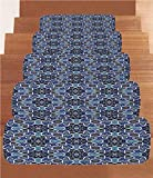 iPrint Non-Slip Carpets Stair Treads,Moroccan,Eastern Persian Gypsy Jacquard Style Arabic Culture Folk Tracery Geometric Image,Royal Blue,(Set of 5) 8.6''x27.5''
