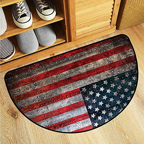 (Dabuniu Half Round Rubber Doormat American Flag US Flag Plate Anti-Slip Doormat Footpad Machine Washable 31