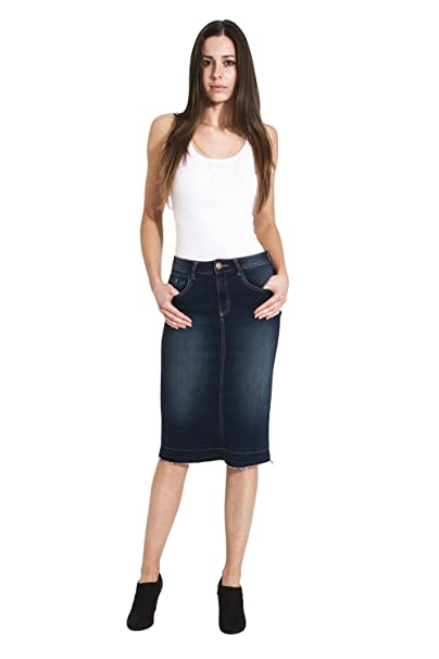 Uskees Mia Gonna Jeans - Indaco con Orlo Sfrangiato Gonna Jeans a Tubino  MIAINDIGO  Amazon.it  Abbigliamento 9d19f852838