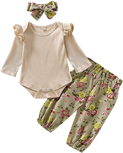 Tops+Legging+Headbands 3Pcs Newborn Baby Girl Boy Outfit Jumpsuits Bodysuits