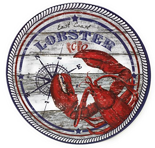 Nantucket Home East Coast Lobster Melamine Dinner Plates, 10.5-Inch, Set of 4