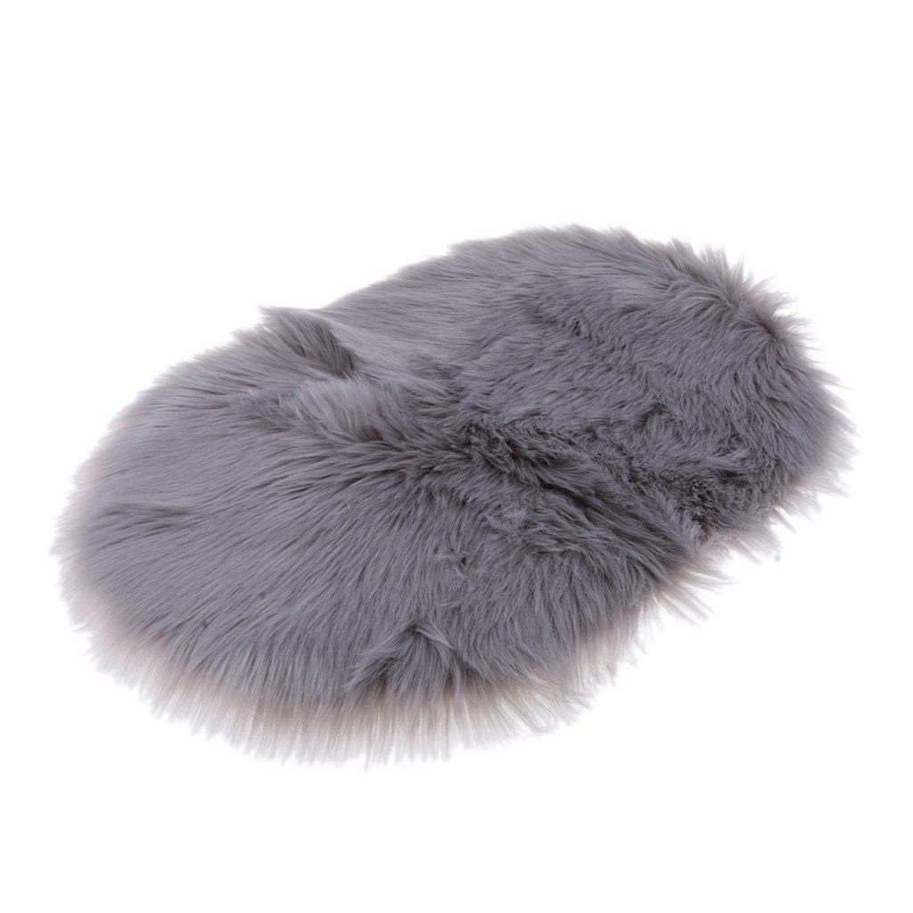 Fityle Natural Soft & Long Artificial Sheepskin Rug - Extra Long Wool Floor Mat, 40x60cm Carpet - Beige
