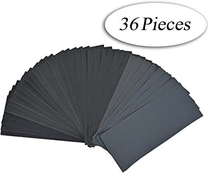 DEDC Lot de 28 Papier de Verre Papier Abrasif 228x91mm /à Sec /à lEau 120 150 180 240 320 400 600 800 1000 1200 1500 2000 2500 3000 2 Feuilles//Grain