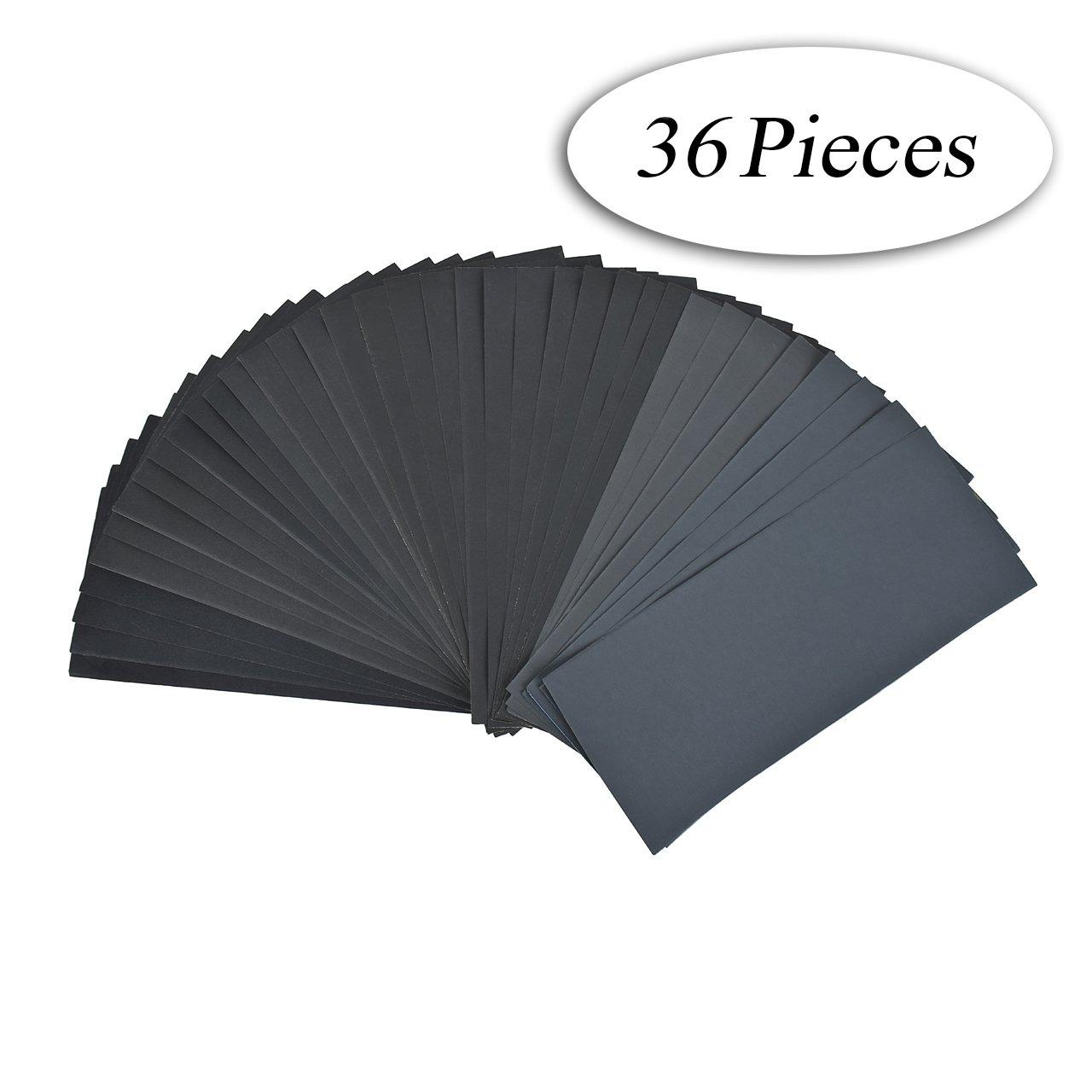 DEDC Lot de 28 Papier de Verre Papier Abrasif 228x91mm à Sec à l'Eau 120 150 180 240 320 400 600 800 1000 1200 1500 2000 2500 3000 2 Feuilles/Grain