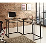 WE Furniture 56″ Metal Glass Corner Computer Desk – Black