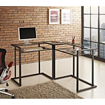 Amazon Com Corner Computer Desk With Glass Top Work Center Arm Office Products