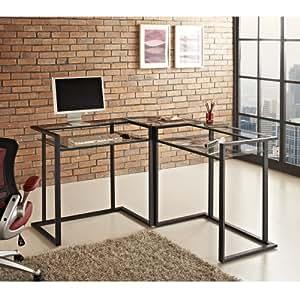 "WE Furniture 56"" Metal Glass Corner Computer Desk - Black"