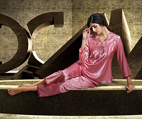 dqq de las mujeres con cuello en V manga larga de encaje Emboidery 2piezas Juego de pijama Sandía
