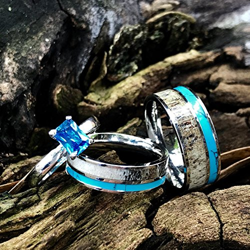 3 pc Natural Deer Antler Ring with Turquoise Inlay Engagement ring Mens Womens Wedding Ring Set Stainless Steel Sterling Silver Band by KingswayJewelry (Image #2)