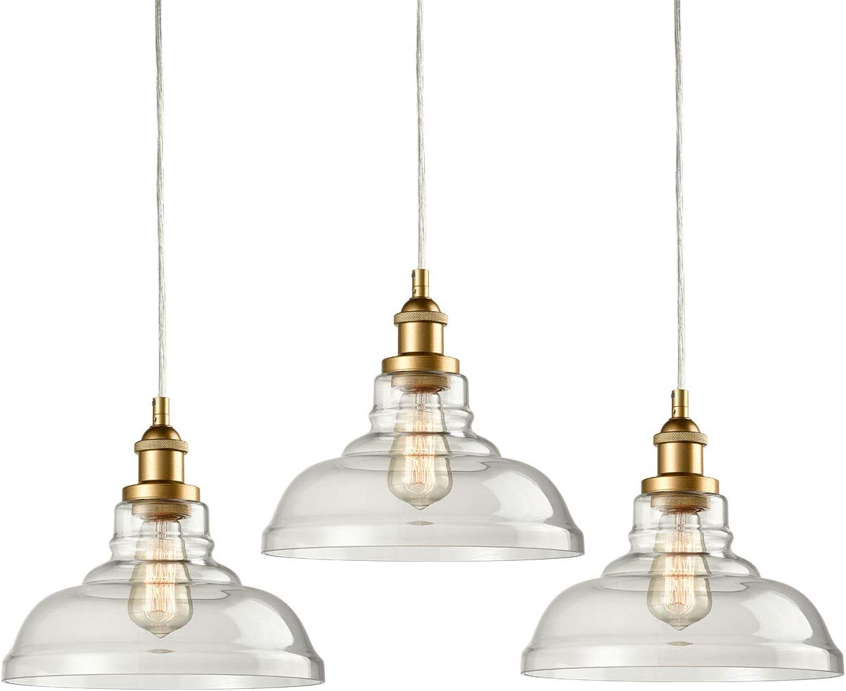Modern Brass Clear Glass Pendant Lights 3 Pack Kitchen Island Lighting Gold Finish Hanging Lighting