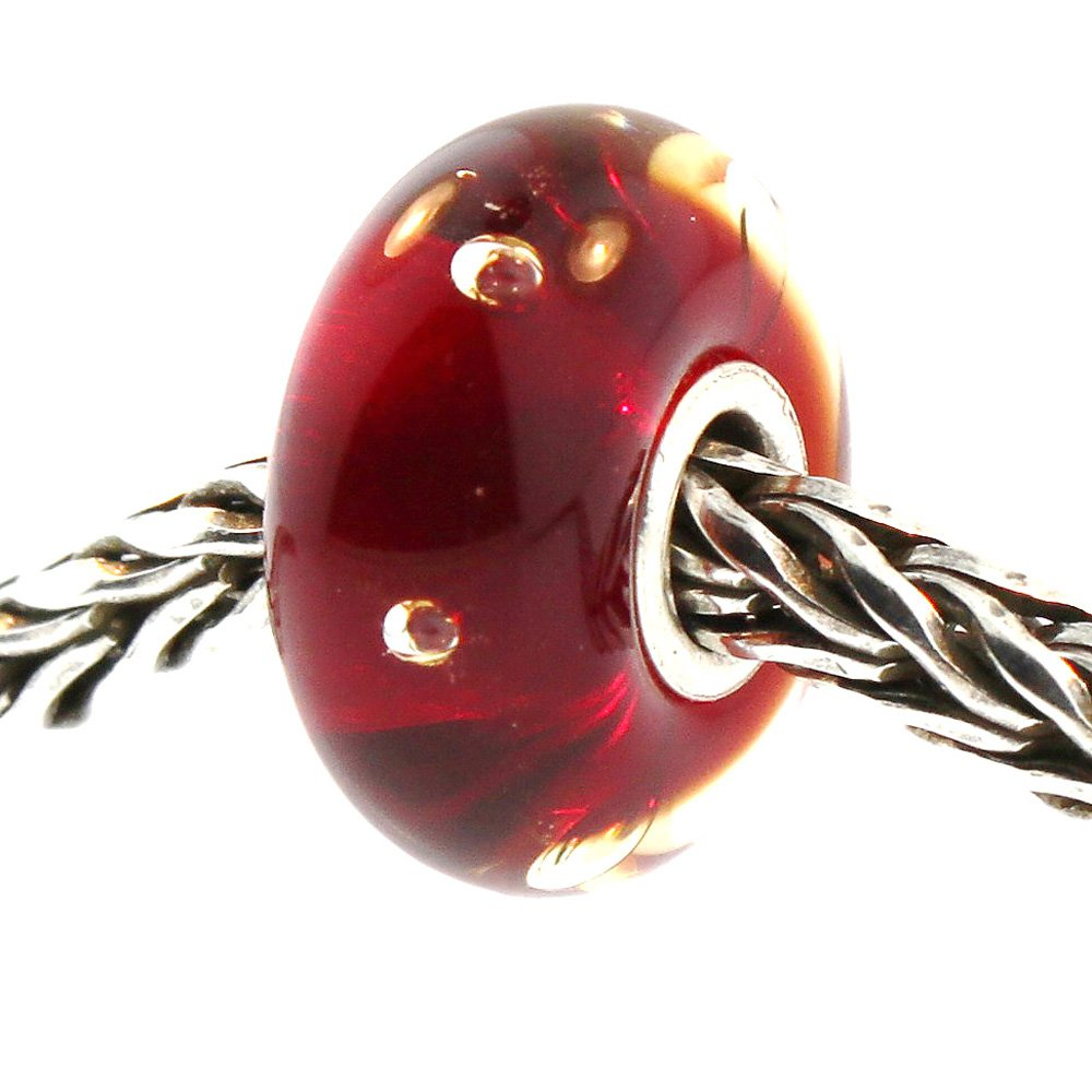 Authentic Trollbeads Glass 61158 Red Bubbles