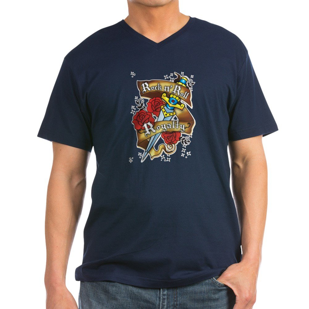 1b696834 Amazon.com: Royal Lion Men's V-Neck T-Shirt (Dark) Rock N Roll Royalty:  Clothing