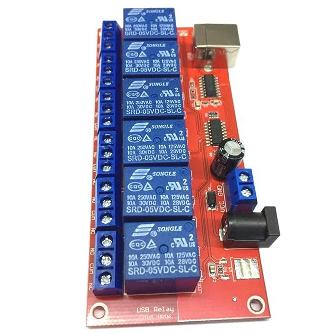 6 Kanal USB Relay Modul Board Optokoppler Computersteuerung für Arduino 5V