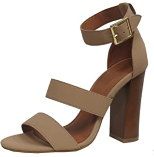 436668da1ab Cambridge Select Women s Open Toe Thick Triple Strappy Buckled Chunky Block  High Heel Sandal