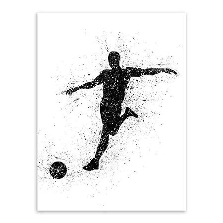 zxddzl Fútbol Lienzo Arte de la Pared Cartel Sala de Estar ...