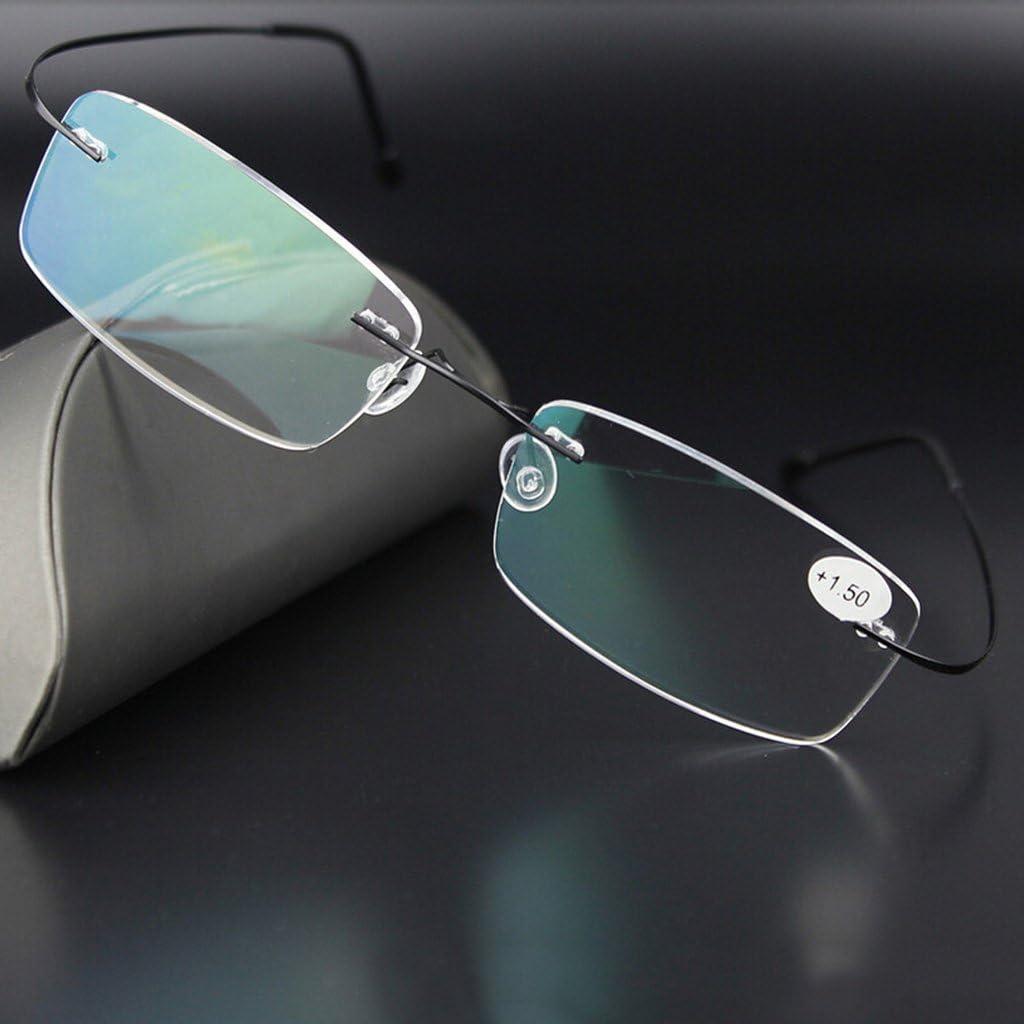 3.5 1.0 ~ Argento Pennyninis Occhiali da Sole Rettangolari Senza Montatura in Titanio Ultralight Occhiali da Vista Montatura per Occhiali