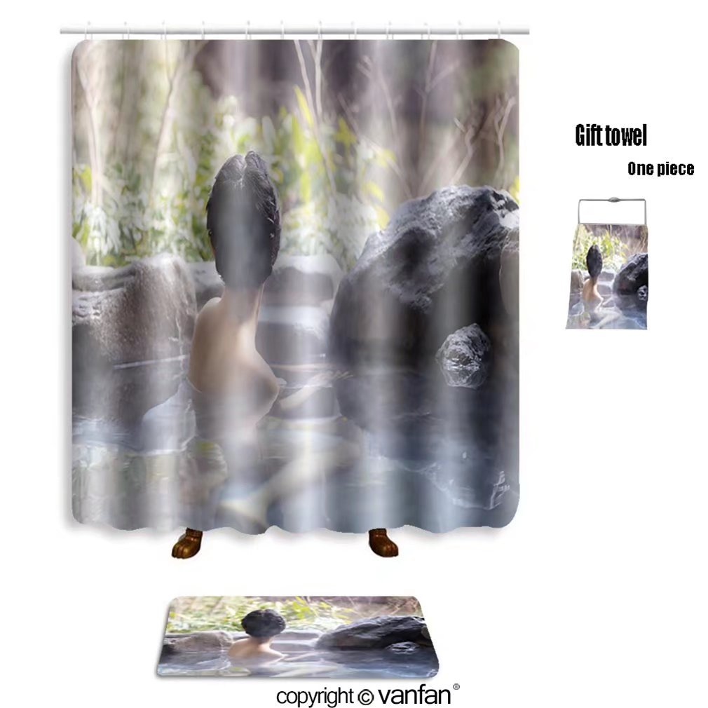 vanfan bath sets with Polyester rugs and shower curtain japanese women relaxing in the hot springs 22 shower curtains sets bathroom 36 x 72 inches&23.6 x 15.7 inches(Free 1 towel and 12 hooks)