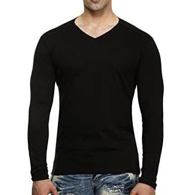 4c64c5f9 tees collection Men's V-Neck Full Sleeve Cotton T-Shirt Black, Small ...