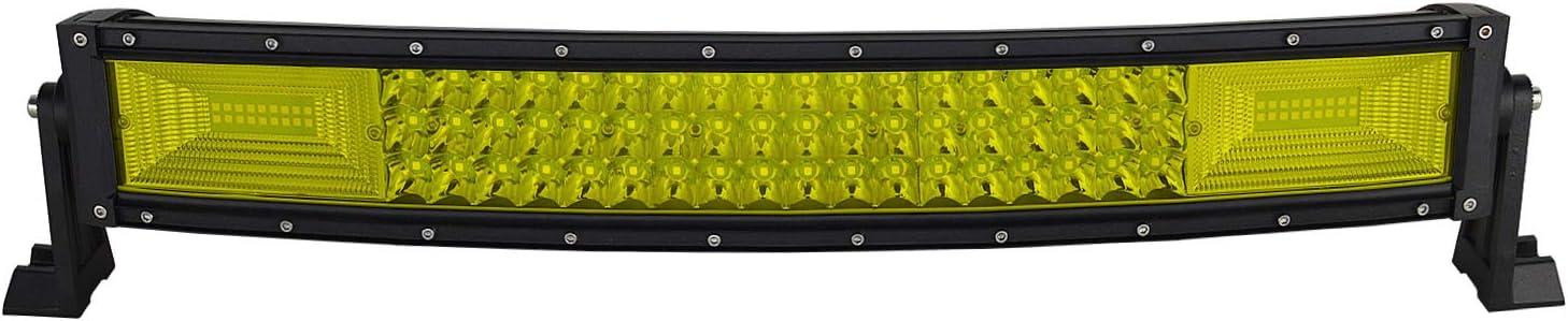 AUXTINGS - Barra de luces LED de 42 pulgadas, 540 W, curvada, triple fila, color ámbar, amarilla, con arnés de cableado para camioneta, ATV, UTV, Wrangler, SUV, Ram F150,3000 K, 12-24 V