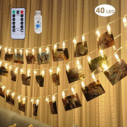 40 LED Photo Clip String Lights, 20 ft USB Powered 8 Modes Choice Picture Hanging String Lights with Remote and Timer, Perfect for Home Decor, Hanging Pictures/ Notes/ - Plains Mall White Hours