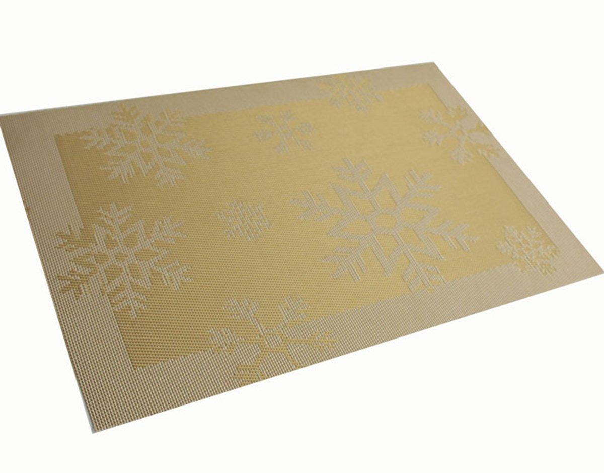 Yoの楽しいクリスマスギフトセット6テーブルマット耐熱プレースマットPVCテーブルマットWovenビニールダイニングテーブルマットプレースマット洗濯可能テーブルマットセット45 x 30 cm 6PCS Placemats ゴールド PM-112402-GD-6PC 6PCS Placemats ゴールド B077QPYPDG