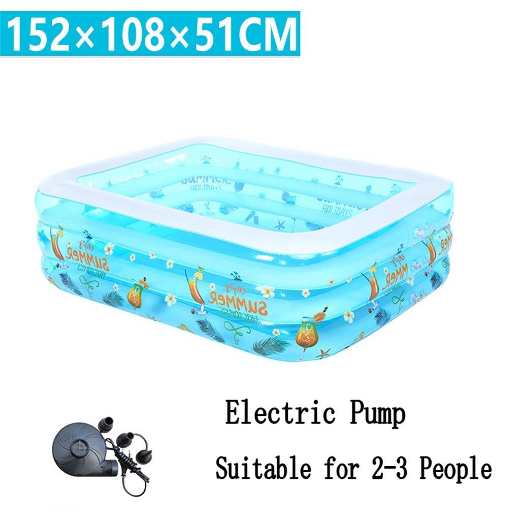 Aufblasbare Badewanne Pool Paddling Pool Meer Ball Pool für Kind Baby Familie mit Elektropumpe Geeignet für 2-3 Personen (152  108  51cm)