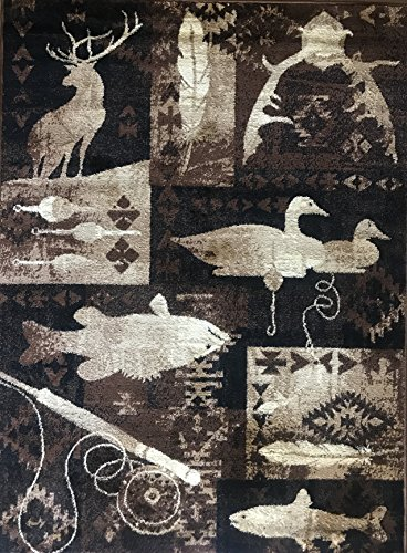 Carpet King Cabin Style Area Rug Fish Duck & Deer Wildlife Country Lodge Design 383 (5 Feet 2 Inch X 7 Feet 3 Inch)