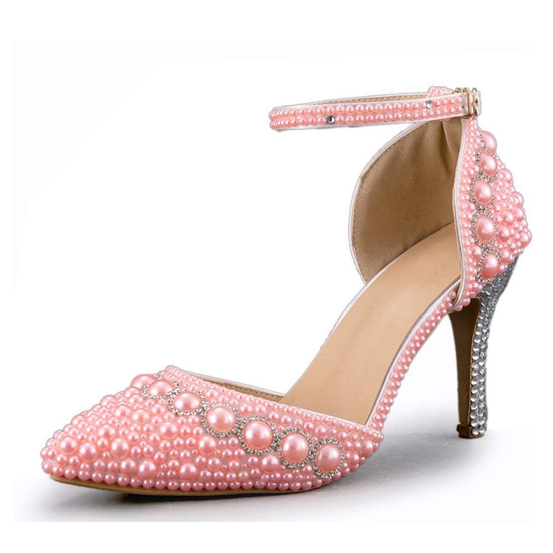 ZHRUI Handgefertigte Perlen Rosa Braut Brautschuhe mit Perle Strass UK 4 (Farbe   -, Größe   -)