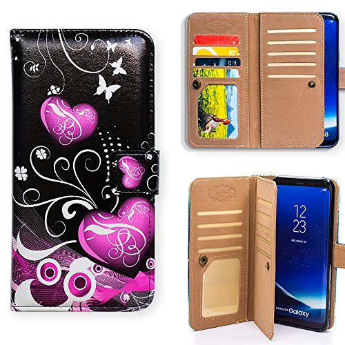 Galaxy S9 Plus Case,Bcov Purple Heart Multifunction Wallet Leather Case Cover for Samsung Galaxy S9 Plus / +