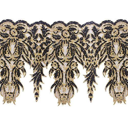 2yards Black Gold Sequin Net Lace Trim Applique Lace African Cord Fabric Trimming Motif Venise Craft Seweing Accessories T2372 Sunbe