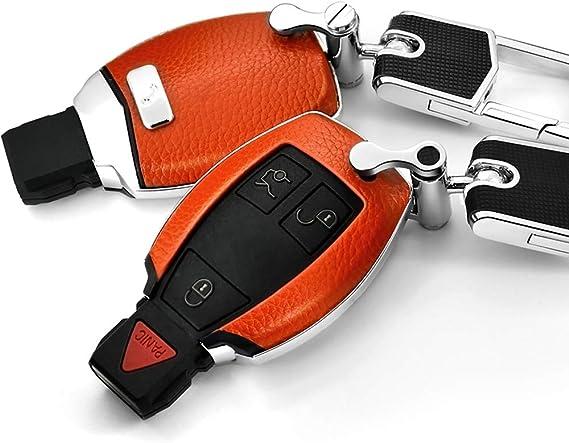 Ontto Smart Autoschlüssel Hülle Fall Für Mercedes Benz A B C E S M Glc Glk Klasse 2 3 Tasten Echtes Leder Abs Schlüsselhülle Mit Schlüsselanhänger Keyless Go Schlüsselbox Schlüsselschutz Orange Bekleidung