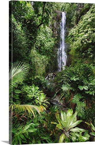 Hawaii Waterfall (M Swiet Productions Premium Thick-Wrap Canvas Wall Art Print entitled Hawaii, Maui, Hana, Wailua Falls, Beautiful Afternoon Light On Waterfall 32
