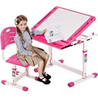 Kids Desk and Chair Set Height Adjustable Ergonomic Children Sturdy Table with Storage Drawer Pencil Case Kids Interactive Workstation Student School Desk for Girls Boys,Pink