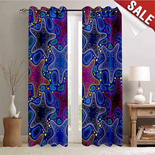 Hengshu Psychedelic Window Curtain Fabric Dotted Starfish and Pebbles Maritime Theme Aquatic Animal Pattern Print Drapes for Living Room W84 x L96 Inch Turquoise Pink