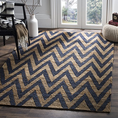 (Safavieh Organica Collection ORG515B Hand-Knotted Blue and Natural Wool Area Rug (4' x 6'))