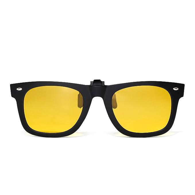 Polarizadas Clip en Gafas de Sol Flip up Anteojos de Espejo Hombre Mujer(Negro Mate