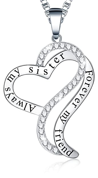1bde61d31d Sis Birthday Gifts - 'Always My Sister Forever My Friend' Love Heart Pendant  Necklace