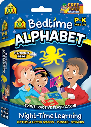 School Zone - Bedtime Alphabet Interactive Flash Cards - Ages 3 to 6, Preschool and Kindergarten, Shadow Art, Letters, Letter Sounds, Stencils, Shapes, Mini Flashlight Included (Write on Learning) ()
