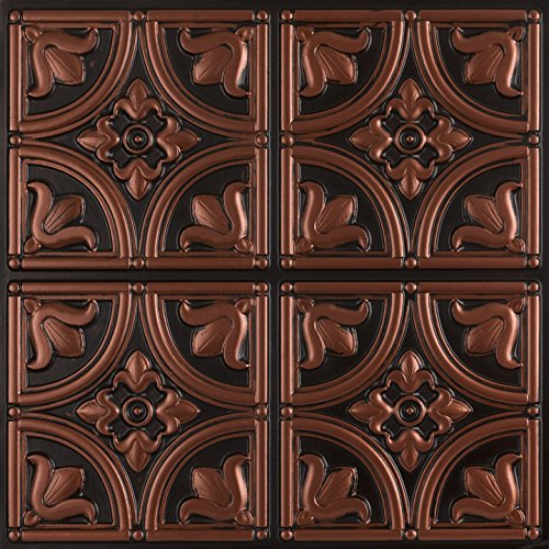 Tiny Tulips-Faux Tin Ceiling Tile - Antique Copper 25-Pack