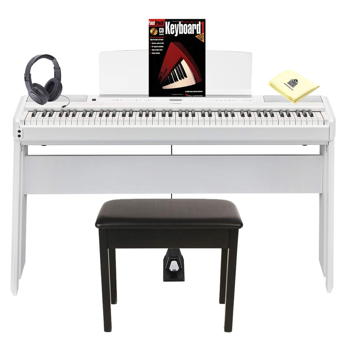 Yamaha P-515WH 88 Weighted Key Digital Piano with Smart Pianist app for iOS & Stereo Speaker System Package with Piano Bench, Wooden Stand, Digital Piano Headphones & Zorro Piano Polish Cloth - White by Yamaha