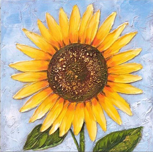 Mingyuan Oil Paintings Sunflower Hand Painted on Canvas Wood Inside Framed Hanging Wall Decoration Art Paintings (19x19in)
