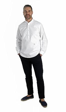 f5f0bf0c61 ❤ Camisa Blanca Cuello Mao ❤ Camisa Polera Blanca Elegante con Cuello Mao  para Hombre