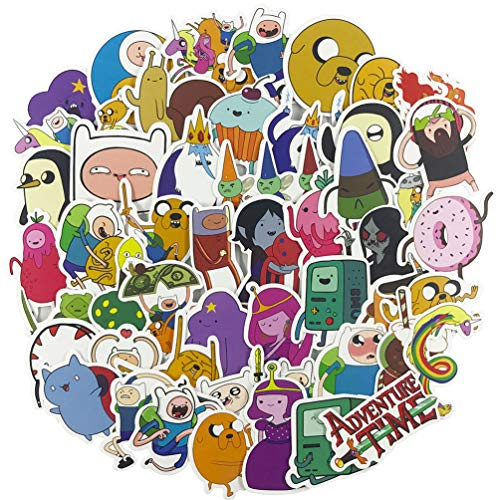 Cartoon Laptop Stickers 50pcs, Cool Kids/Teen Vinyl Computer Waterproof Water Bottles Skateboard Luggage Decal Graffiti Patches Decal (Adventure Time with Finn and Jake) (Adventure Time Decal Laptop)