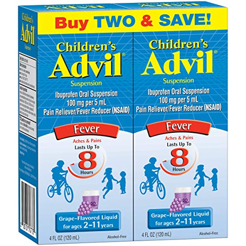 Advil Childrens Ibuprofen - Children's Advil Suspension 100mg Ibuprofen Fever Reducer/Pain Reliever, Grape-Flavored, 4 fl oz (Pack of 2)