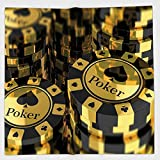Cotton Microfiber Hand Towel,Poker Tournament Decorations,Gold and Black Poker Chips Gambling Club Currency Stack Wager Decorative,Gold Black,for Kids, Teens, and Adults,One Side Printing