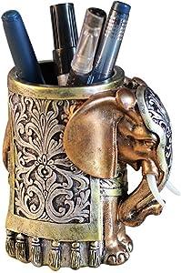 Resin Pencil Holder Desk Organizer Elephant Head