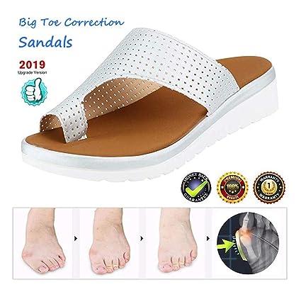 Sandalias de Mujer cómodos Plataformas,Plana Charol Corrector de juanetes ortopédico Zapatillas,Casuales Antideslizante