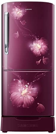 Samsung 192 L 4 Star Direct Cool Single Door Refrigerator(RR20M182YR3/HL, Rose Mallow Plum, Base Stand with Drawer, Inverter…