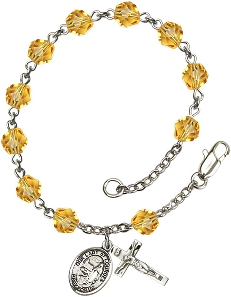 Bonyak Jewelry Our Lady of Lourdes Silver Plate Rosary Bracelet 6mm Fire Polished Beads Every Birth Month Color
