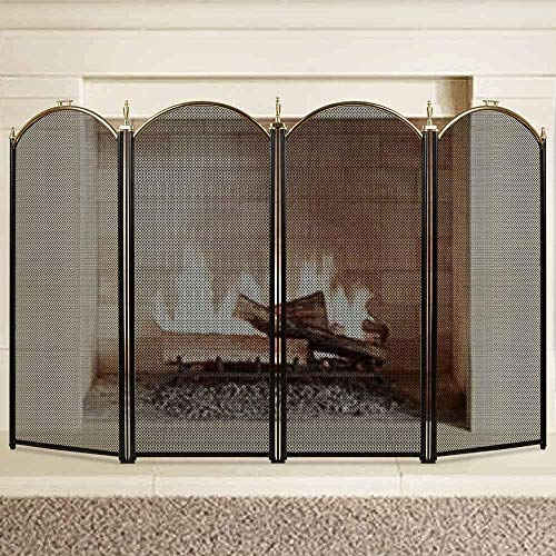 (Large Gold Fireplace Screen 4 Panel Ornate Wrought Iron Black Metal Fire Place Standing Gate Decorative Mesh Solid Baby Safe Proof Fence Steel Spark Guard Cover Outdoor Fireplace Tools Accessories)
